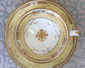 19th Century Gold and Yellow Hand-painted Trio