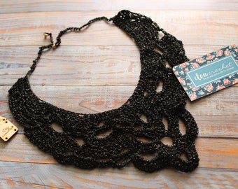 handmade crochet necklace iridescent