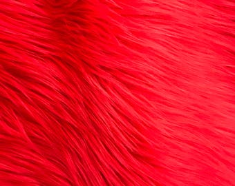 """Solid Red Shaggy Faux Fur Fabric By The Yard 60"""" Width"""
