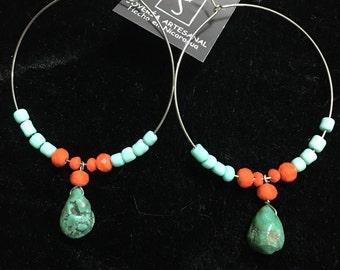 Turquoise Hoops Earrings
