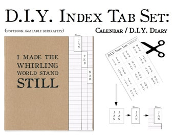 DIY Calendar Month Index Tab Label Set | Bullet Journal Accessory Stickers | Make Your Own Diary Notebook | DIY Month Planner Date Book