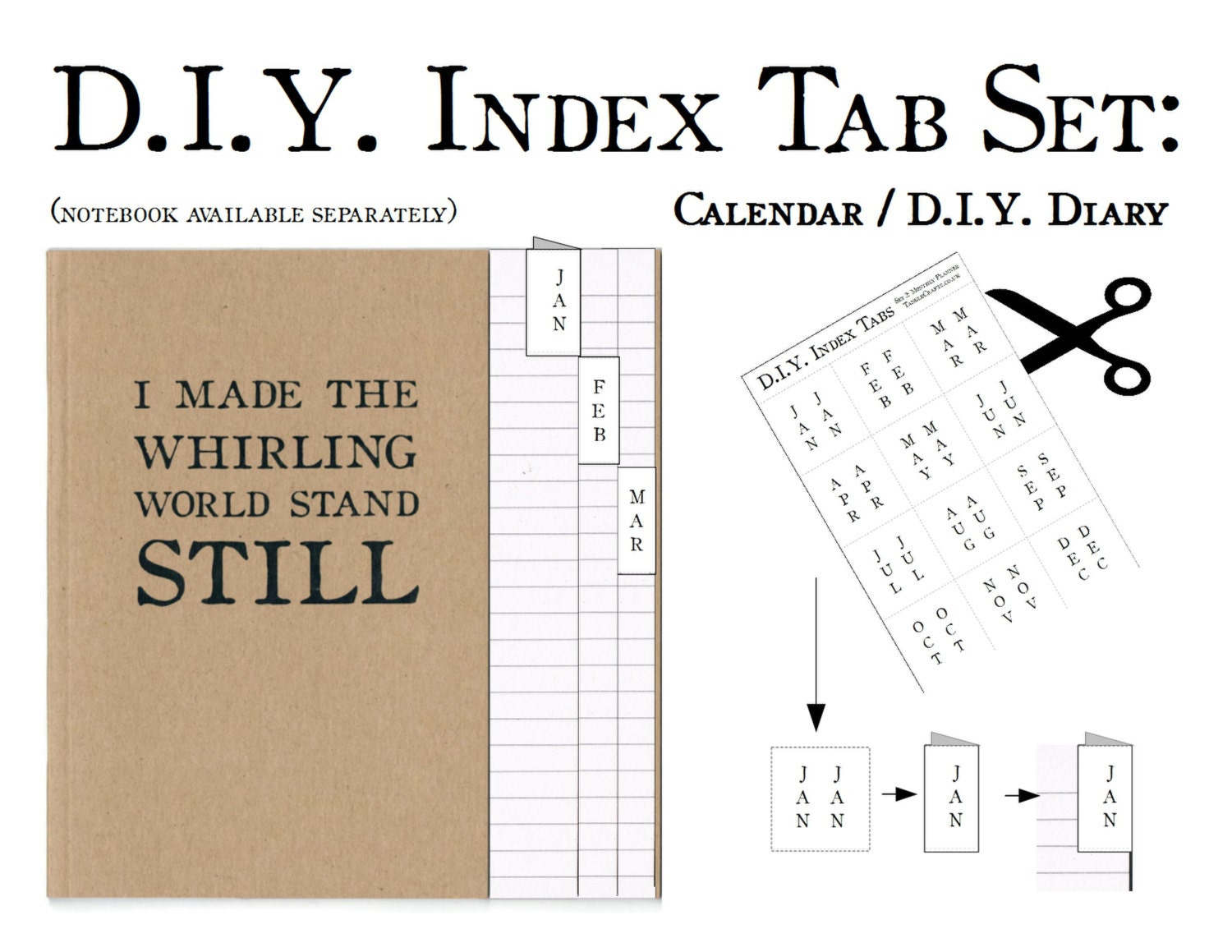 Diy Notebook Calendar : Diy calendar month index tab label set bullet journal