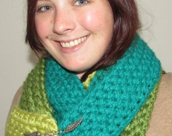 Green Scarf with Pin