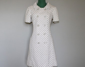 OZ WINTER SALE ** Was 150.00   Amazing 1960's Checkered Double Breasted Mini Scooter Dress