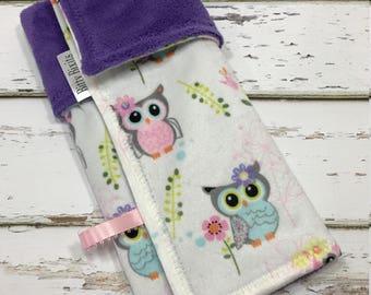 owl lovey blanket Girl Lovey blanket Security blanket Baby girl blanket Baby shower gift Girl shower gift double minky blanket minky lovey