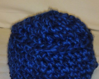 A Hand Crocheted Blue&Dark Blue Winter Hat