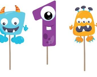 Monster Cupcake Topper, Monster Birthday cupcake topper, monster picks, monster theme,  monster birthday party, first birthday monster theme