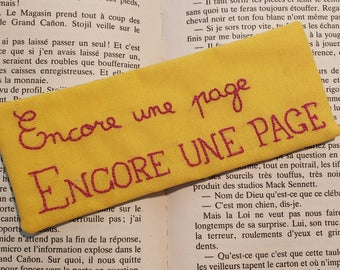 """Bookmark """"One more page"""" hand - embroidered thirst for reading"""