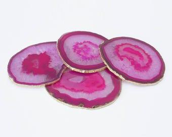 Agate Coasters - Pink Set of 4 with Gold Leaf edging - Handmade Unique Home Decor | Gemstone Homeware | Housewarming | Boho Chic