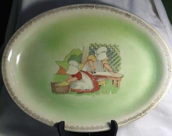 Antique Sun Bonnet Babies Stoneware Platter