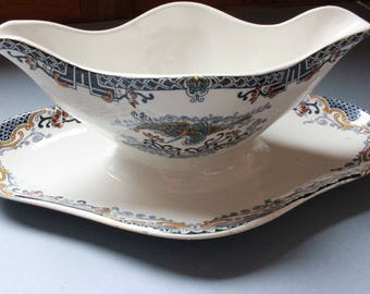 Gravy boat, Saucière beautiful French antique Longwy 1900s