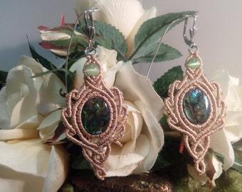 Macrame abalone/Paua Shell earrings