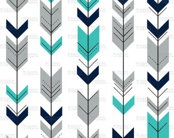 Fletching Arrows - Teal Fabric by littlearrowdesigncompany