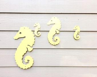 Seahorse Set Wall Decor - Beach Decor - Beach Signs - Yellow Home Decor - Metal Sign - Metal Beach Decor