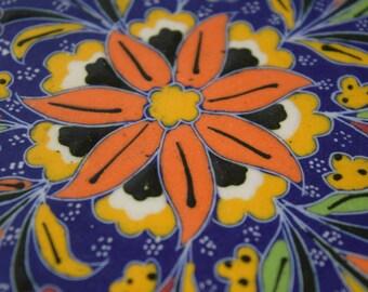 Turkish Tile hand  painted snowflake tile Dinner decor