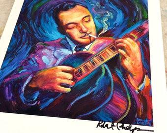 Colorful Django Reinhardt Portrait Art Print by Artist Robert Phelps, guitar art, guitarist, jazz art print, Django art, gypsy art, gyspy