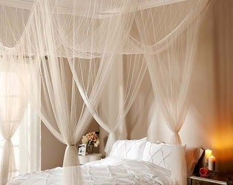 White or Black Sheer Bed Canopy