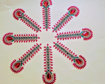 Kundan Rangoli - Handmade & elegant Floor / Table / Wall decor - Border pieces / Bottus