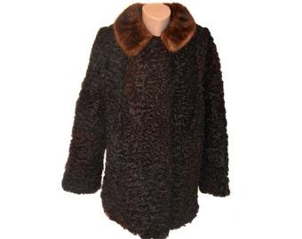Vintage Persian Lamb Swakara black fur coat chestnut collar women Astragan Astrakhan