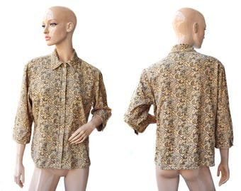 Vintage Marco Pecci women top shirt pure cotton floral beige