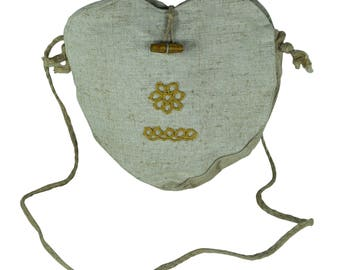 Handmade purse - made of linen with original decoration crochet