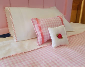 Pink Scallop Edged Sheet and Pillow case American Girl 18 in Doll