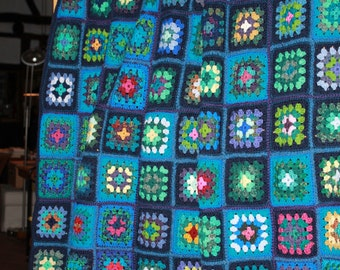 "Crochet patchwork quilt ""Granny squares"" made from fine natural yarns 220 x 150"