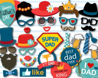 Printable Father's Day Photo Booth Props,  Happy Father's Day Party Photobooth Props, Instant Download Love Dad Party Photo Booth Props 0284
