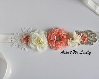 coral belt, bridal belt, ivory bridesmaid belt,maternity belt, bridesmaid belt, maternity sash, wedding belt, coral  belt, flower belt