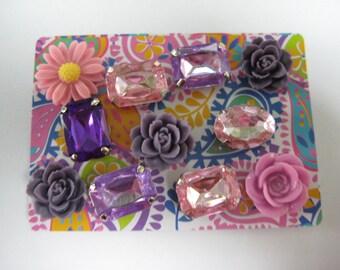 Decorative Thumbtacks, Push Pins Set, Bulletin Board Tacks, Push Pins, Thumb Tacks, Office, Cork Board, Cubicle Decor, Flowers Rhinestones/6