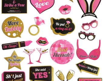 Bachelorette Party Photo Booth Props Kit - Real Gold Glitter - 23 Unique Designs