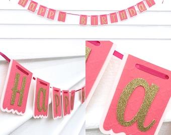 Happy Birthday banner (gold/pink)