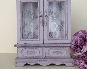 Shabby chic jewellery box - Vintage jewelry armoire - Lilac painted jewellery box - Wooden decoupaged armoire - Birthday gift - Gift for her