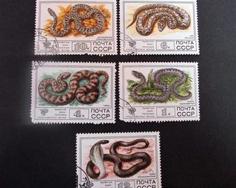 Soviet Vintage Postal Stamps Reptile stamps, Fauna postage stamp, Set of 5 ussr stamps. Not used russian postal stamps from 1977