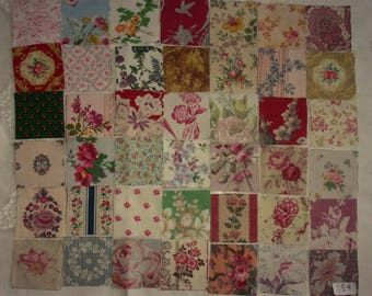 Lot of 42 small coupons for old fabrics for patchwork... ref 284