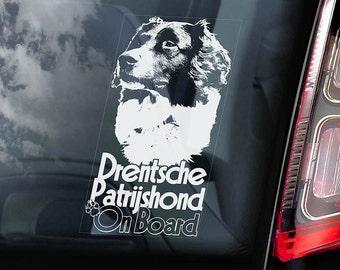 Drentsche Patrijshond on Board - Car Window Sticker - Dutch Partridge Dog Sign Gift Decal - V02
