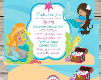 PRINTED Mermaid Birthday Party Invitation Front Back Ocean Under the Sea Mermaids Dolphin Treasue Chest Pirates