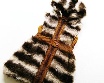 70s FaKe FuR VeSt vintage retro OldSchOol 7-8Y vest FellWeste KunStfell 122/128 HiPster