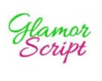 Glamour Script Cursive Machine Embroidery Monogramming Font Set in 3 sizes Digital Instant Download