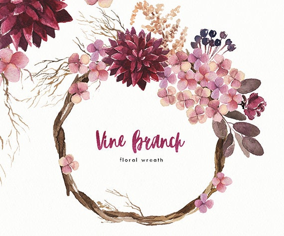 Watercolor flower wreath Vine Branch. Hand-painted ...