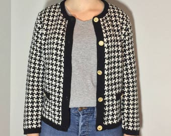 Blue and White Women Cardigan - Vintage clothing