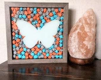 Butterfly Shadow Box, Butterfly Art, Shadow Box Art, Butterfly Decor, Butterfly Wall Art, Origami Art, Origami Shadow Box, Origami Stars