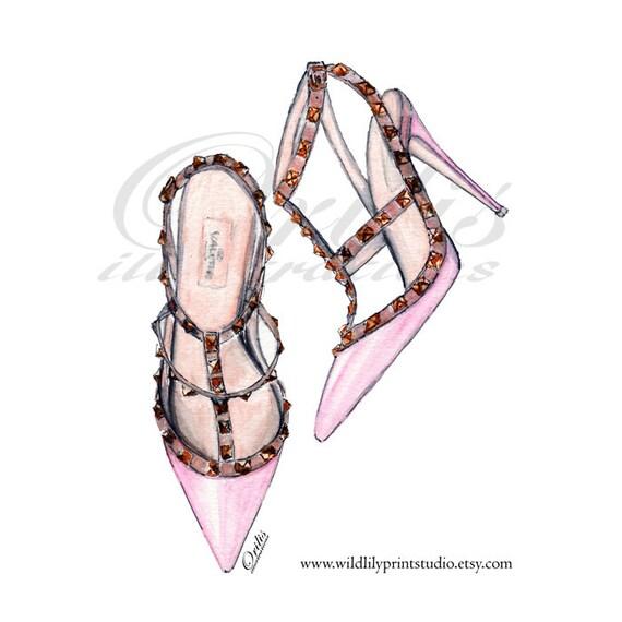 FASHION WALL ART Pink designer shoe illustration wall art