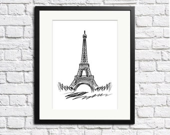 Eiffel Tower Print Paris France travel print | minimalist artwork | black & white illustration | Wall decor | Printed and shipped to you