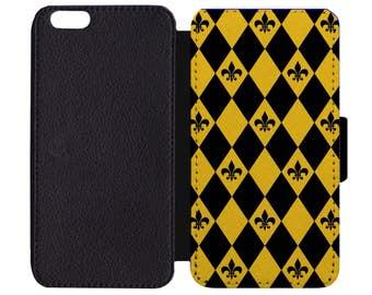 Fleur De Lis New Orleans Saints Black and Gold Print Pattern Black Leather Wallet Flip Phone Case Cover Apple iPhone 5 5S 6 6S 7 Plus