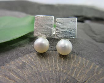 Silver earrings pearl earrings silver freshwater cultured pearl earrings