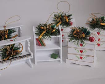 SALE - Set of 6 Vintage Christmas Wood Ornaments from the 1990's