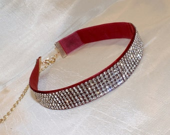Rhinestone Velvet Choker Necklace in Ivory or Red