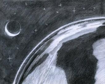 Earth and Moon charcoal