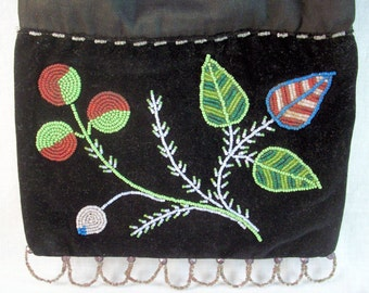 Ojibwe Hand Beaded Bag 1920's Glass Beads in Stylized Floral Design w/ Whirling Log on Reverse